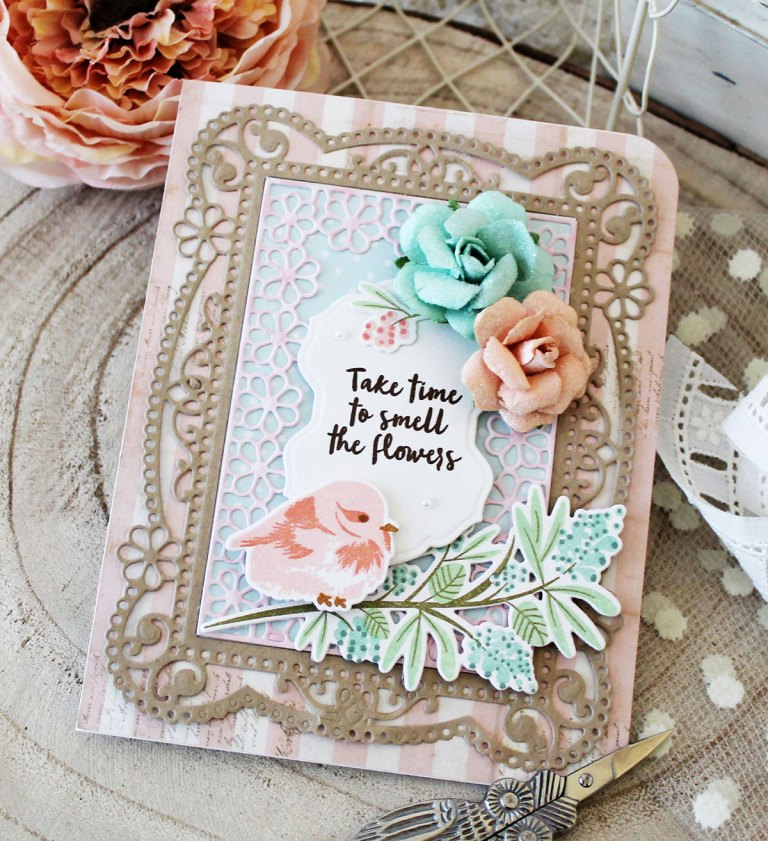 Chantilly Paper Lace Collection by Becca Feeken. Inspiration | Elegant Floral Cards by Melissa Phillips for Spellbinders. Using S4-817 Breanna's Corset Label, S4-818 Eliza Lace Corners, S5-328 Tallulah Frill Layering Frame Small. #spellbinders #neverstopmaking #diecutting #handmade card