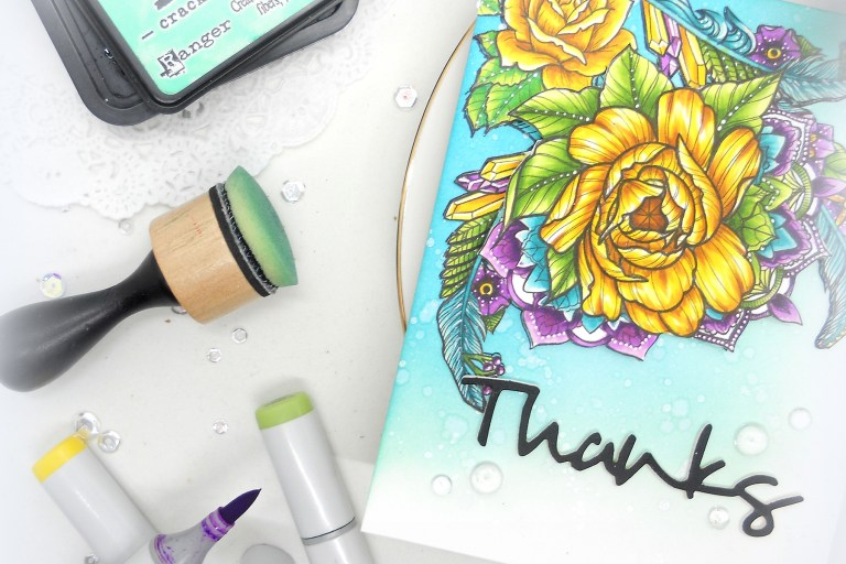 Video Friday | Feathers and Florals with Kelly Latevola for Spellbinders using Stephanie Low's Cool Vibes Designer Series SDS-099 Medium Peony, SDS-100 Feathers, SDS-098 Moon Flower, S4-563 Simply Said Phrase Set One #spellbinders #stamping #neverstopmaking #diecutting #handmadecard
