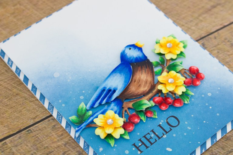 Flower Garden Collection by Sharyn Sowell - Inspiration | Bird On Cherry Branch + Copic Coloring with Cynde. Video tutorial featuring S2-285 Bird on Cherry Branch #spellbinders #diecutting #handmadecard #copiccoloring #adultcoloring