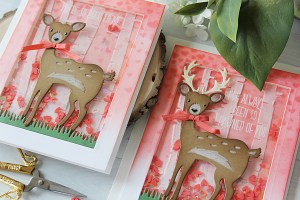 Video Friday | Stenciled Scene Shaker Backgrounds with Nichol Spohr for Spellbinders using S3-229 Deer S3-320 Picket Fence SCD-012 Pierced Rectangles dies #spellbinders #neverstopmaking #diecutting #cardmaking #handmadecard