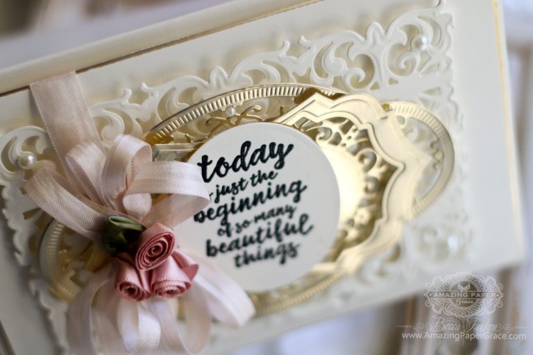 Chantilly Lace - Quick and Elegant Gold Layering by Becca Feeken for Spellbinders using S3-707 Graceful Damask Border, S5-329 Hannah Elise Layering Frame, S4-789 Francesca Label, S5-332 Hemstitch Ovals #diecutting #stamping