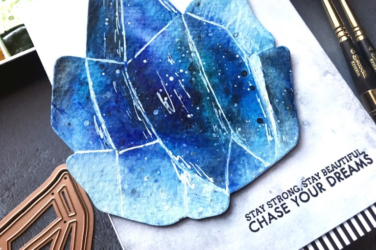 Good Vibes Only collection by Stephanie Low - Inspiration | Watercolored Crystals with Rubeena for Spellbinders using S5-352 Crystal Peaks #spellbinders #neverstopmaking #diecutting #handmadecard