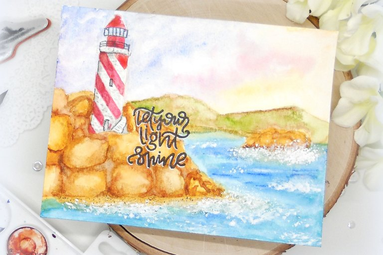 Video Friday   Lighthouse with Kelly for Spellbinders using: DSC-044 Lighthouse, SDS-097 Light Shine #spellbinders #cardmaking #stamping #watercolorcard #adultcoloring