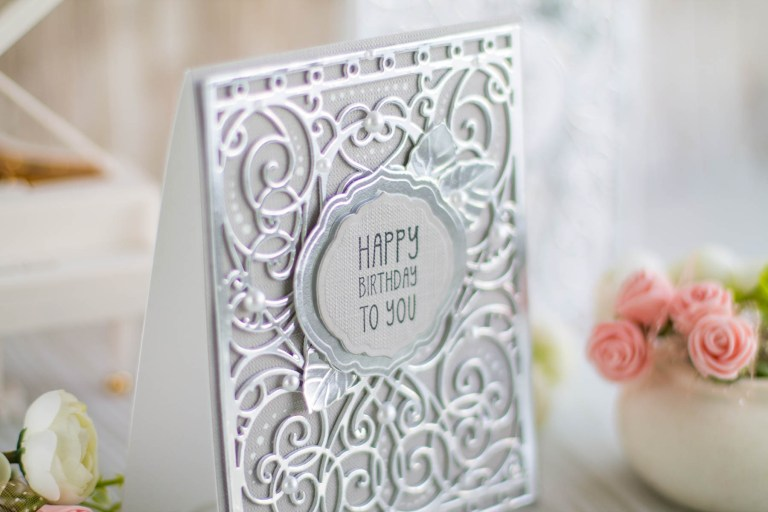 Romancing The Swirl Collection by Becca Feeken - Inspiration | Happy Birthday Card with Elena for Spellbinders using: S4-930 Curvy Labels S5-364 A2 Corner Cotillion S5-366 A2 Swirl Background #spellbinders #neverstopmaking #cardmaking #diecutting #handmadecard