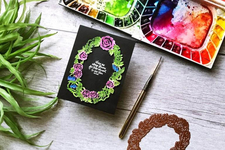 Flower Garden collection by Sharyn Sowell - Inspiration | Floral Wreath by Ruby for Spellbinders using S4-​851​ Dimensional Floral Panel​ #spellbinders #neverstopmaking #diecutting #handmadecard