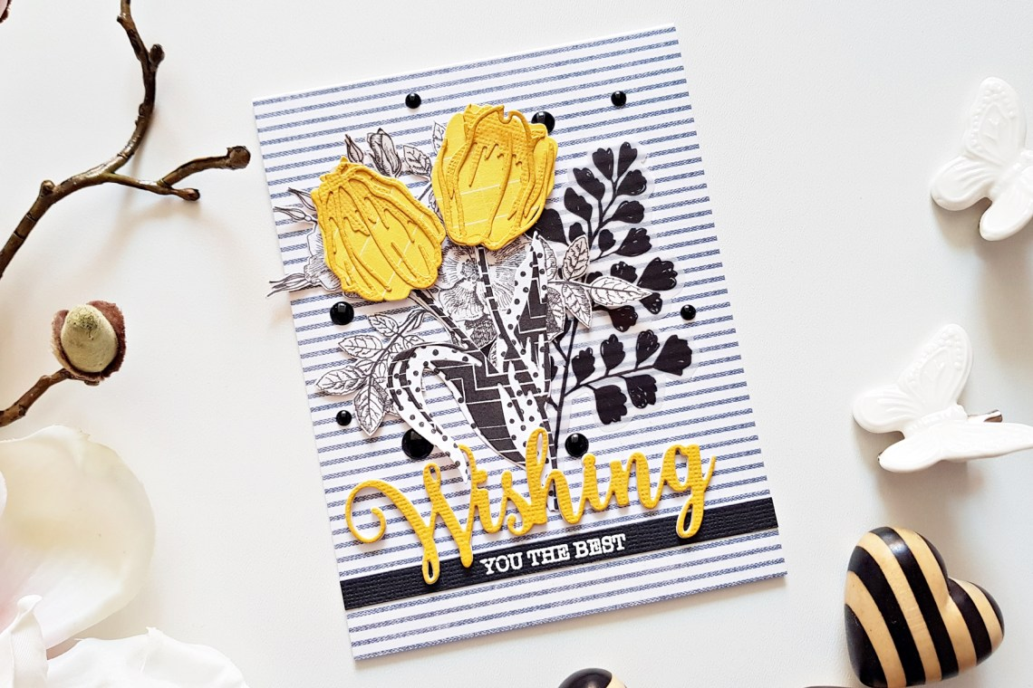 Exclusive Indie Collection Inspiration | Layered Tulips Cards by Zsoka for Spellbinders. Using: SDS-154 Hugs Expressions SDS-157 Wishing Expressions S4-923 Layered Tulip S4-920 Layered Monarch. #spellbinders #diecutting #handmadecard #neverstopmaking