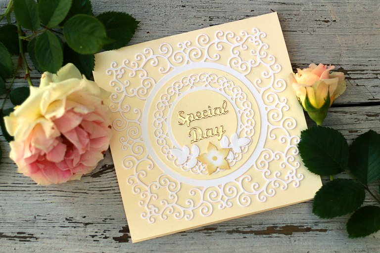 Video Friday | Pop-Up Card with Frame Dies with Olga for Spellbinders. S5-376 Miss You Swirl, S5-374 Special Day Frame, S4-942 Swirls Border, S5-338 Wreath Elements, S5-132 A-2 Matting Basics B dies. #spellbinders #marisajob #diecutting #handmadecard #neverstopmaking