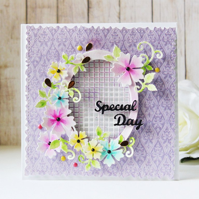 Special Moments Collection by Marisa Job - Inspiration | Special Day Card by Hussena for Spellbinders. Featuring: S5-374 Special Day Frame, S5-378 Floral Oval, S7-215 Vintage Stitched Squares dies. #spellbinders #neverstopmaking #diecutting #handmadecard