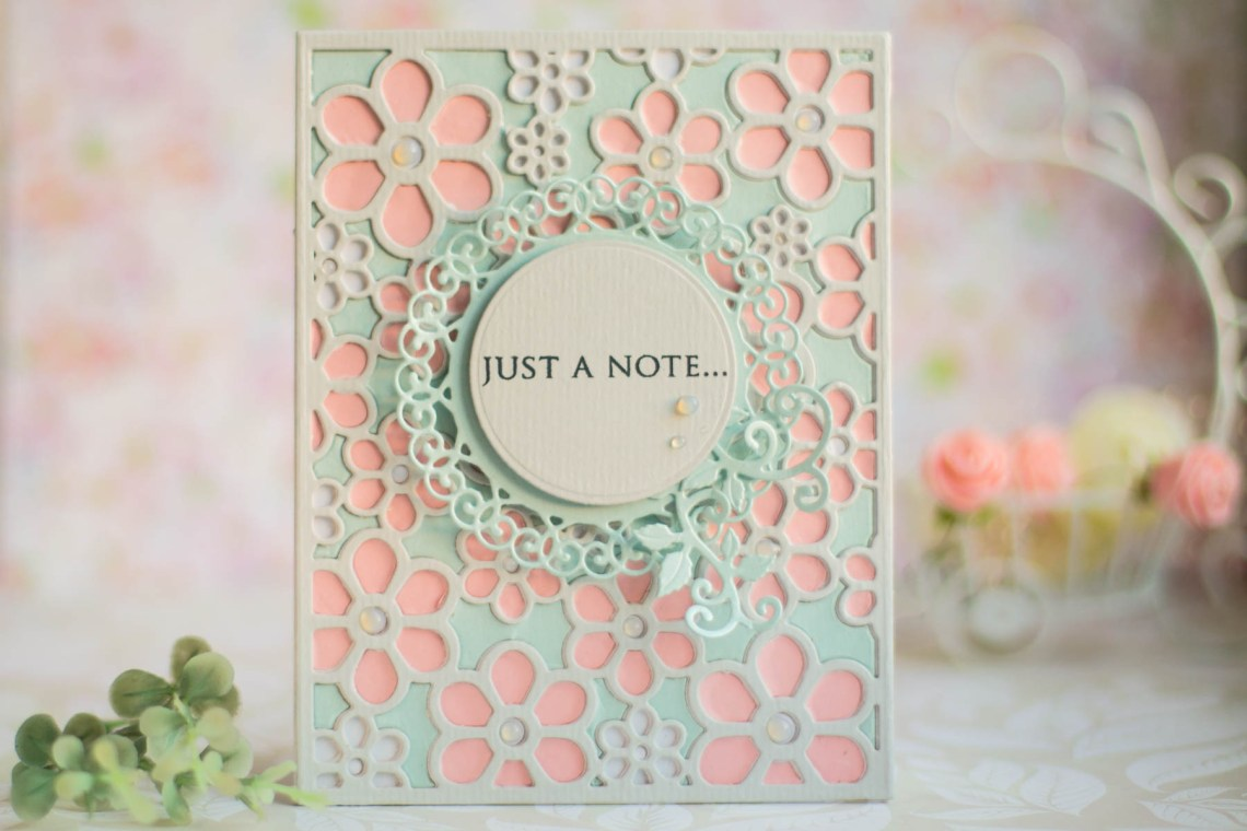Spellbinders Special Moments Collection by Marisa Job - Inspiration   Flower Background Card with Elena featuring S5-374 Special Day Frame, S5-375 Flower Background, S5-378 Floral Oval #spellbinders #neverstopmaking #diecutting #handmadecard
