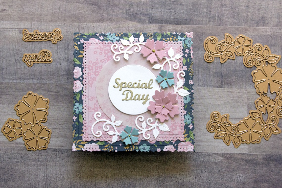 Spellbinders Special Moments Collection by Marisa Job - Inspiration   Vintage-Style Special Occasion Card with Jean featuring S7-215 Vintage Stitched Squares, S5-378 Floral Oval, S5-376 Miss You Swirl, S5-374 Special Day Frame #spellbinders #specialmoments #marisajob #neverstopmaking #diecutting