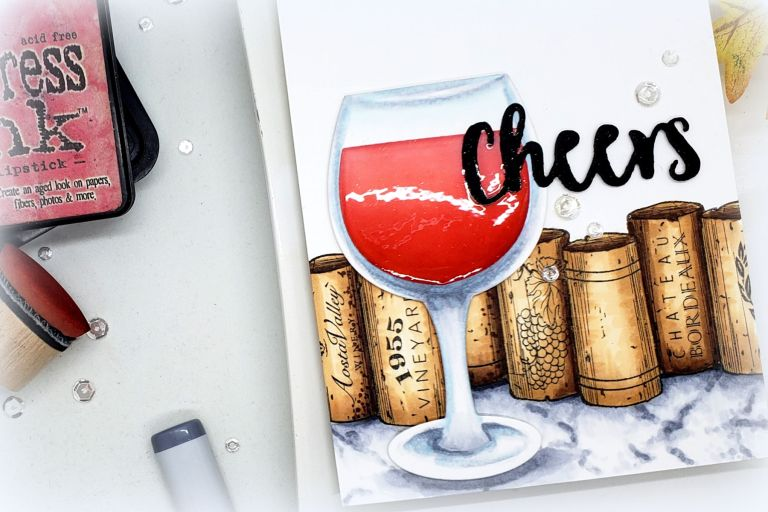 Video Friday   Copic Coloring Marble with Kelly Latevola featuring SDS-132 Wine Corks,SDS-134 Wine Glass Bottle Tag #spellbinders #neverstopmaking #diecutting #stamping #copiccoloring