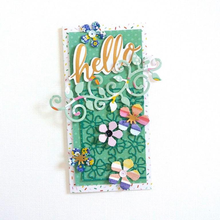 Spellbinders Blooming Garden Collection by Marisa Job | Hello Cards with Elodie featuring S2-296 Swirl Leaf Branch, S3-335 Rose Buds, S5-358 Swirl Happy, Birthday Frame, S6-146 Heart Flower Box #spellbinders #marisajob #diecutting #handmadecard #neverstopmaking #diecut