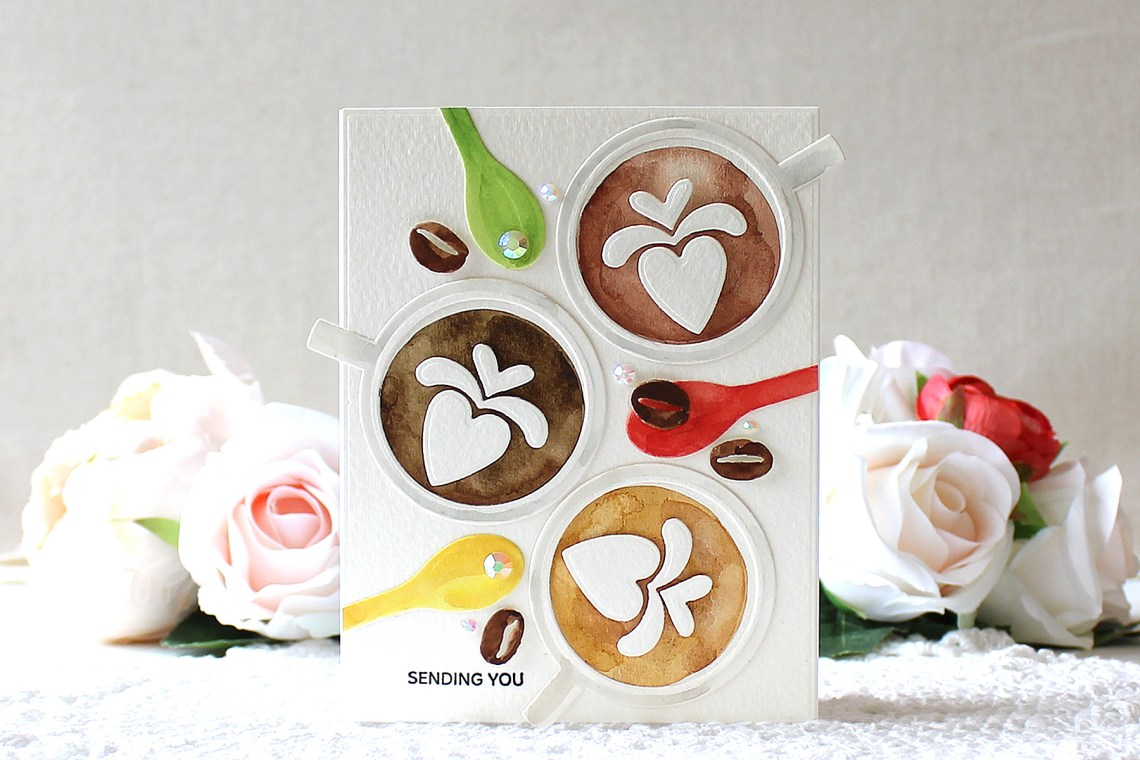 Spellbinders Cuppa Coffee, Cuppa Tea Collection by Sharyn Sowell - Inspiration | Watercolor Coffee Card with Yoonsun Hur featuring S4-949 Heart Latte, S3-346 Cup and Beans dies #neverstopmaking #diecutting #cardmaking #coffeecard #handmadecard