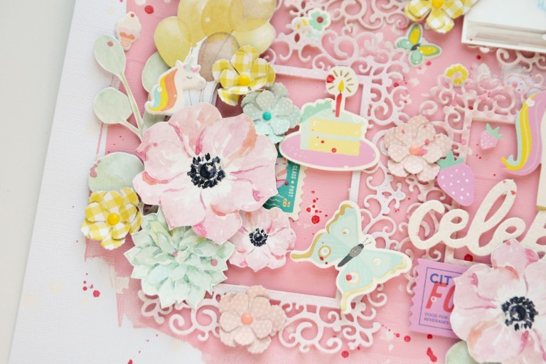 Spellbinders Blooming Garden Collection by Marisa Job - Inspiration   Romantic and Whimsical Layout with Anna featuring S3-335 Rose Buds, S5-358 Swirl Happy Birthday Frame #spellbinders #scrapbooking #neverstopmaking #diecutting #papercrafting