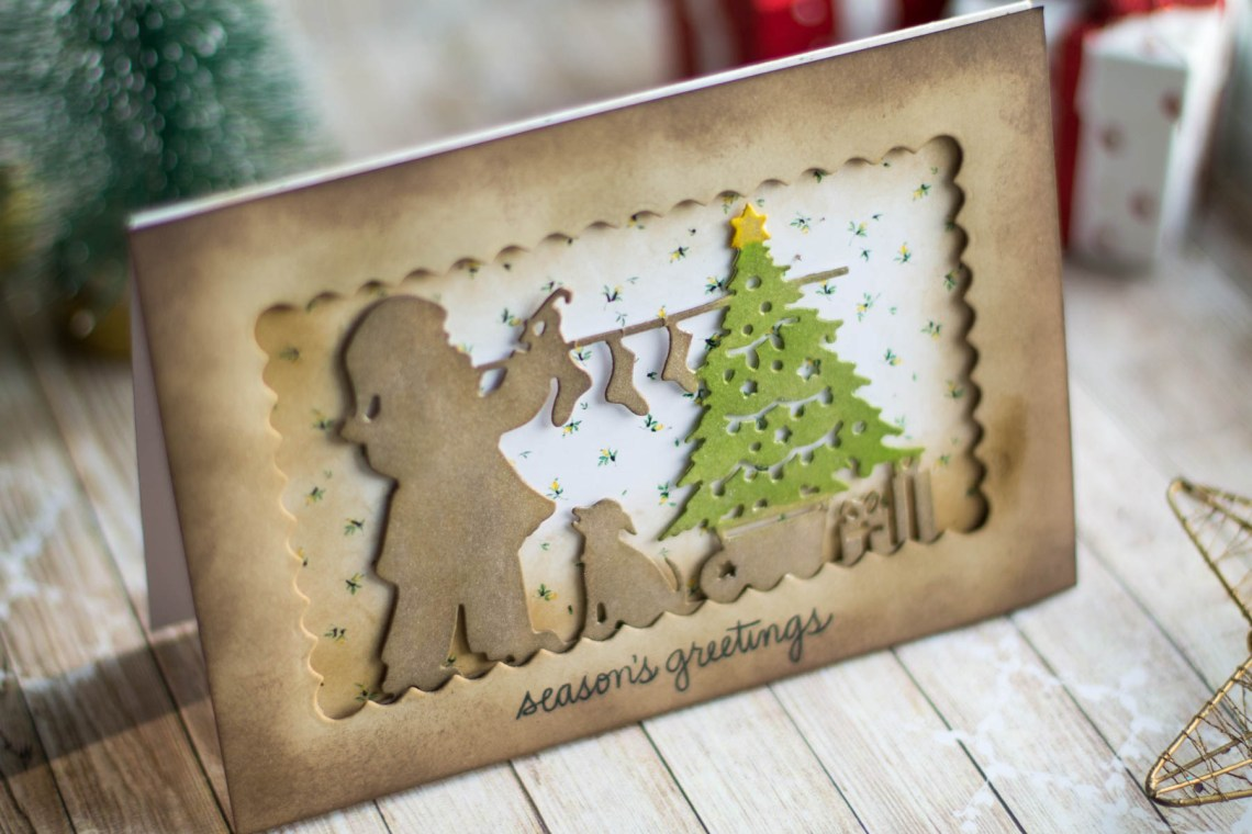 Spellbinders A Sweet Christmas Collection by Sharyn Sowell - Inspiration | Santa & Presents Card with Elena Salo featuring SDS-159 Recipe Card Set, S4-937 Hanging Stockings #spellbinders #neverstopmaking #sharynsowell