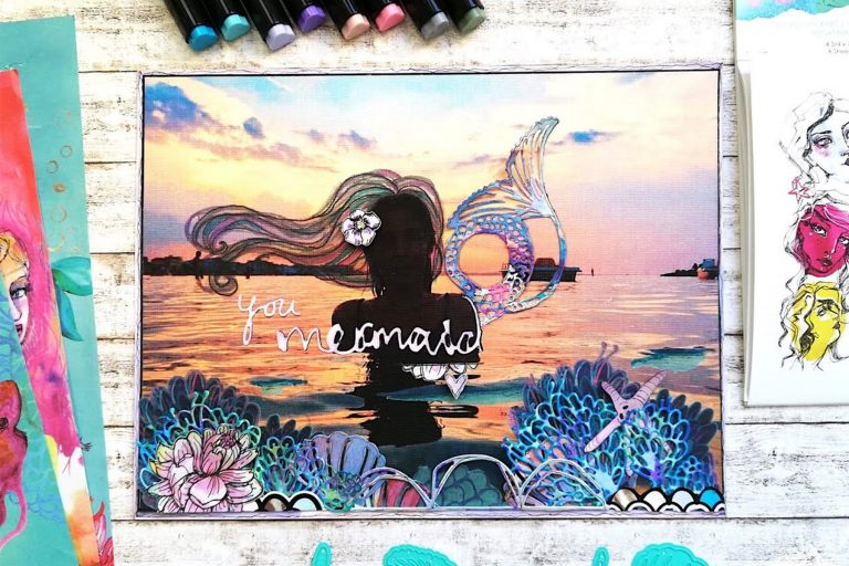 Jane Davenport Artomology | Mermaid Mixed Media Layout with Angela Tombari featuring JD-014 Washi Mermaids Washi Sheets, JDD-003 Sea Flower, JDD-005 You are Unique, JDD-006 Happy Little Unicorn, JDD-031 MerTail, JDD-033 Mermaid for Each Other, JDD-026 Fair Feathers, JD-015 Colorist Stickers, JD-031 Deep Sea Die Cutting and Embossing Machine #janedavenport #janedavenportartomology #Artomology #spellbinders #neverstopmaking #smoothmarkers #makeitwithmichaels #washisheets