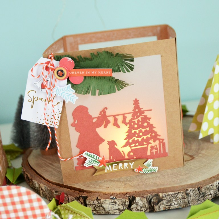 Spellbinders A Sweet Christmas Collection by Sharyn Sowell - Inspiration | Christmas Lanterns and Cards with Anna featuring S4-937 Hanging Stockings, S4-941 From Our Home To Yours, S4-936 Lighting The Way, S5-373 Santa Parade #spellbinders #neverstopmaking #diecutting #sharynsowell #christmaslantern