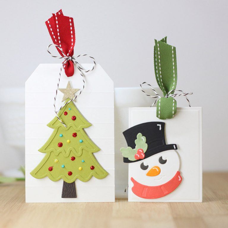 Spellbinders Die D-Lites Holiday Inspiration   Clean and Simple Christmas Tags with Laurie Willison featuring S3-359 Santa S3-358 Reindeer S3-361 Christmas Tree S3-360 Snowman S4-132 Classic Rectangle #spellbinders #christmastags #neverstopmaking