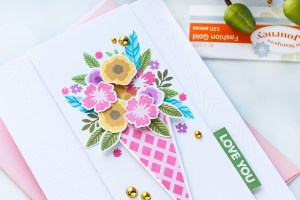 Spellbinders NEW Clear Stamps | Love You Floral Bunch Card #spellbinders #neverstopmaking