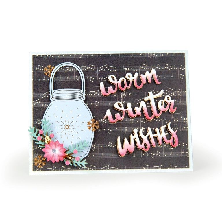 Spellbinders December 2018 Card Kit of the Month – Winter Wishes! Warm Winter Wishes Card.