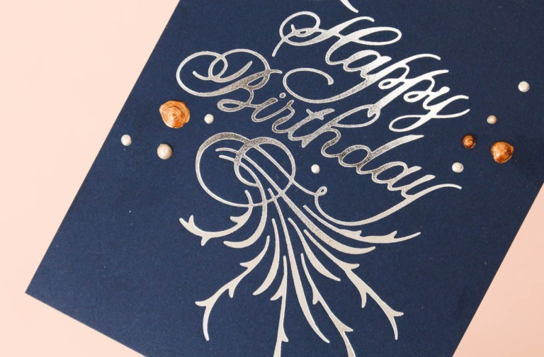 Paul Antonio Glimmer Plates Inspiration | One Layer Happy Birthday Card with Zinia for Spellbinders