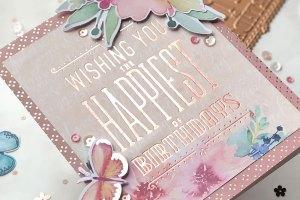 Spellbinders Glimmer Hot Foil Inspiration | Foiled Cards with Brenda. Feminine Birthday Foiled Card