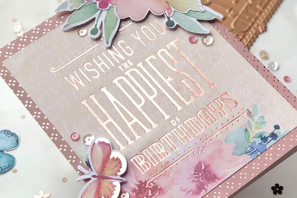 Spellbinders Glimmer Hot Foil Inspiration | Foiled Cards with Brenda. Feminine Birthday Foiled Card
