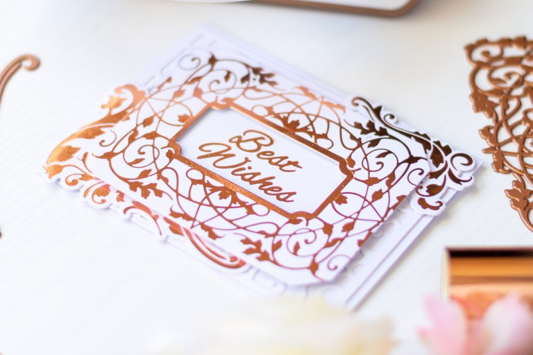 Video: The Gilded Age Collection by Becca Feeken for Spellbinders - Inspiration | Best Wishes Foiled Card with Laura Volpes