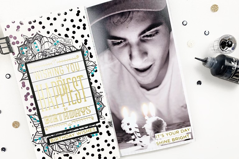 Video: Glimmer Hot Foil Inspiration | Happy Birthday Journal Spread by Heba Alsibai for Spellbinders