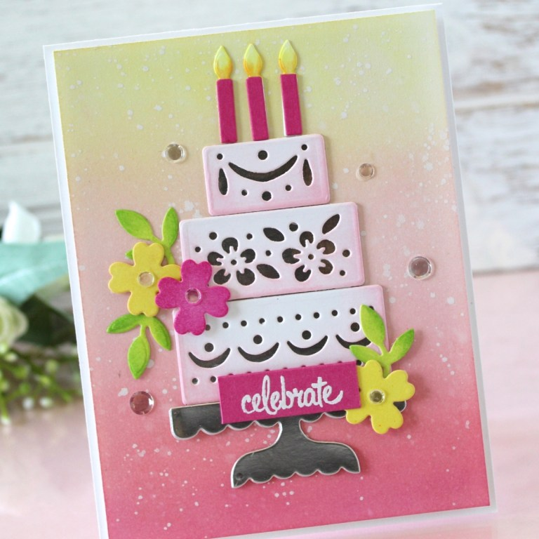 Spellbinders - Happy Collection by Sharyn Sowell - Inspiration | Celebrate Birthday Cake Card with Melody Rupple