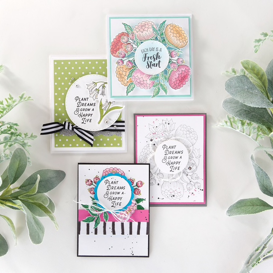 set of four handmade cards with Fun Stampers Journey Fresh Start stamp set, April 2019 Stamp of the Month Club #funstampersjourney