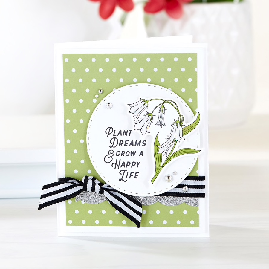 Plant Dreams and Grow a Happy Life handmade card with Fun Stampers Journey Stamp of the Month, April 2019, called Fresh Start #FSJSOTM