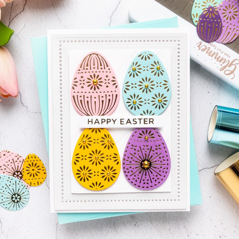 Spellbinders March 2020 Glimmer Hot Foil Kit of the Month is Here – Eggstra Special #SpellbindersClubKits #NeverStopMaking #GlimmerHotFoilSystem