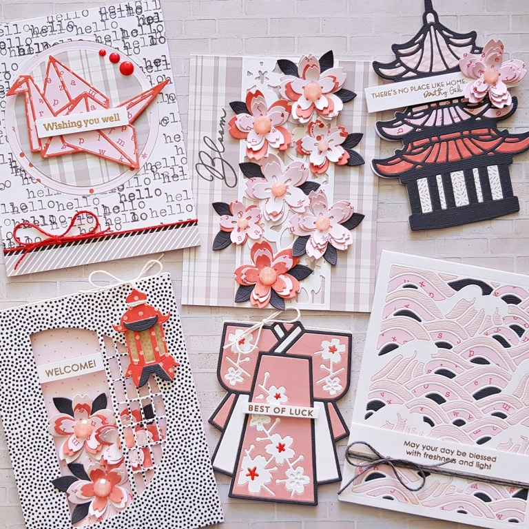 Spellbinders Destinations Japan Collection by Lene Lok - Inspiration   Patterned Paper Cards with Zsoka #Spellbinders #NeverStopMaking #DieCutting