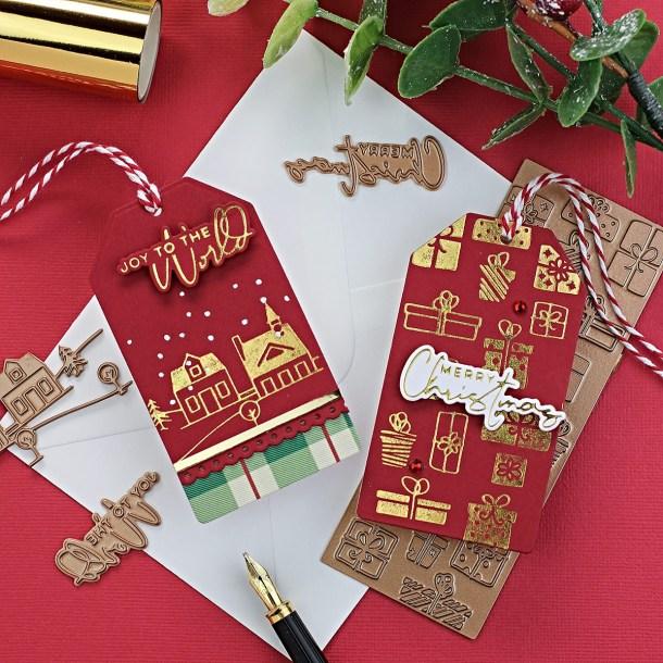 Spellbinders Yana's Christmas Foiled Basics Collection by Yana Smakula - project inspiration with Bibi Cameron #spellbinders #NeverStopMaking #GlimmerHotFoilSystem #Cardmaking #Christmascardmaking