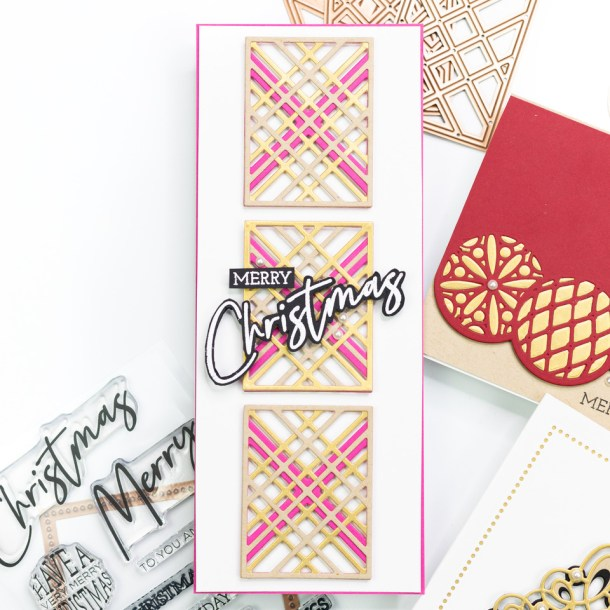 The Spellbinders Christmas Project Kit | Cardmaking Inspiration with Jennifer Bolton | Video tutorial | Kaleidoscope Plaid Slimline Card #Spellbinders #NeverStopMaking #Cardmaking #Diecutting #Christmascardmaking