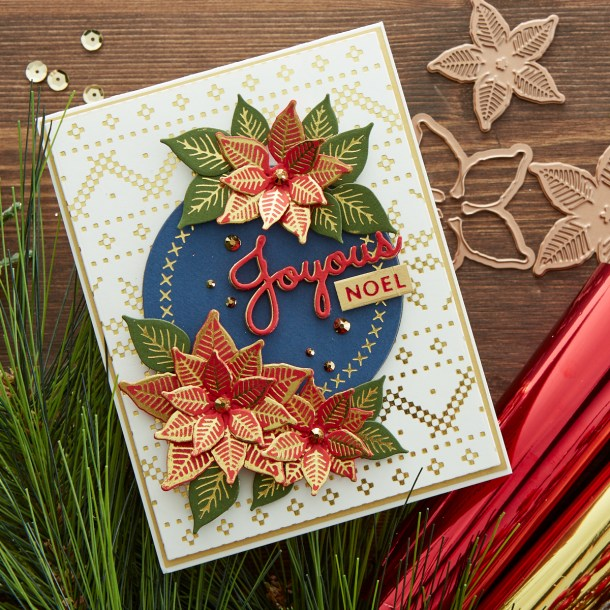 GLP-198 Christmas Sweater Background: This beautiful A2 sweater background will make any card shine. Add stamp, die cut or glimmer images in the center for an instant classic Christmas creation. What's New | Spellbinders Sparkling Christmas Collection #Spellbinders #NeverStopMaking #DieCutting #Cardmaking #GlimmerHotFoilSystem #Christmas