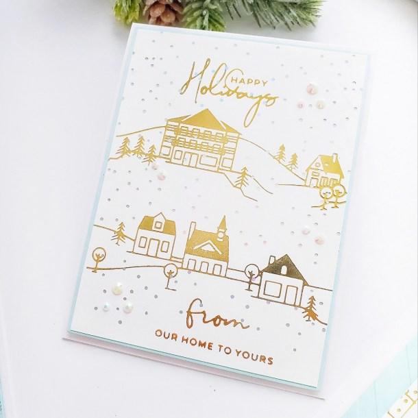 Spellbinders Yana's Christmas Foiled Basics Collection by Yana Smakula - Foiled Christmas Cards with Yasmin Diaz #Spellbinders #NeverStopMaking #GlimmerHotFoilSystem #Cardmaking #ChristmasCardmaking