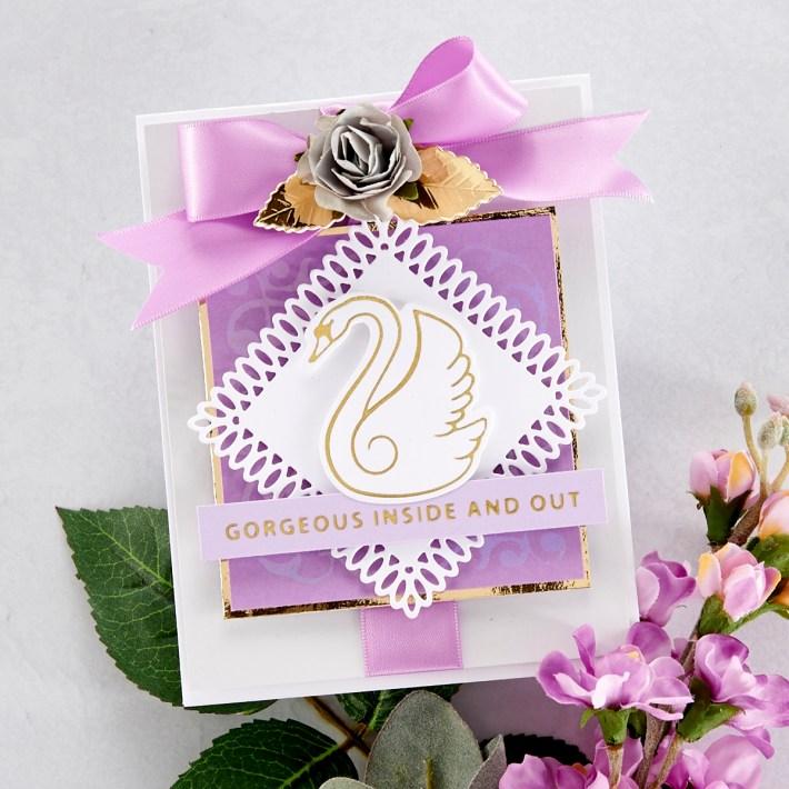 Spellbinders Becca Feeken Sweet Cardlets Glimmer Project Kit - Gorgeous Inside and Out Card #Spellbinders #NeverStopMaking #DieCutting #Cardmaking #GlimmerHotFoilSystem