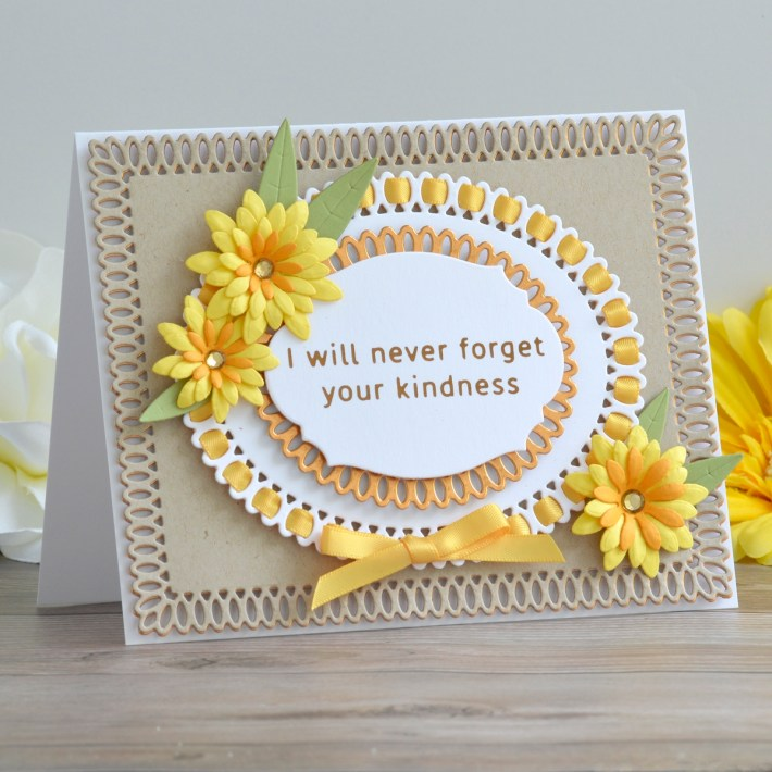 Spellbinders Becca Feeken Picot Petite Collection - Cardmaking Inspiration with Annie Wiliams. Ribbon Threaded Autumnal Card #Spellbinders #NeverStopMaking #AmazingPaperGrace #DieCutting #Cardmaking
