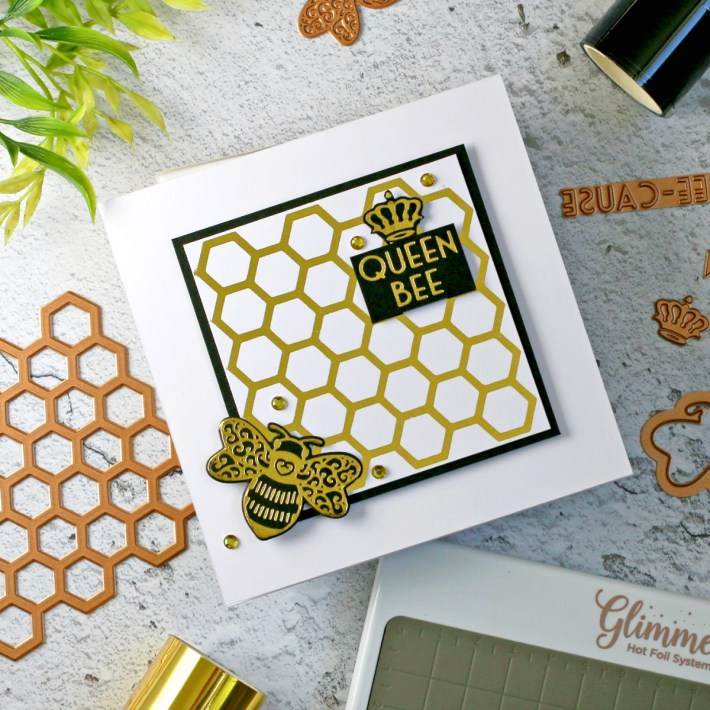 Becca Feeken Sweet Cardlets Glimmer Project Kit | Cardmaking Inspiration with Sandi MacIver | Video Tutorial | Just BEE Cause Card #NeverStopMaking #DieCutting #Cardmaking #GlimmerHotFoilSystem