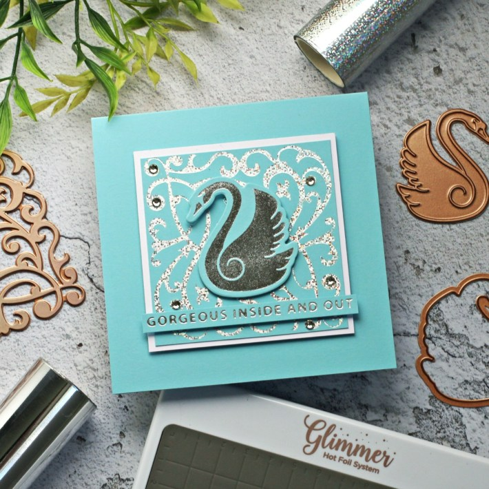 Becca Feeken Sweet Cardlets Glimmer Project Kit | Cardmaking Inspiration with Sandi MacIver | Video Tutorial | Graceful Swan Card #NeverStopMaking #DieCutting #Cardmaking #GlimmerHotFoilSystem