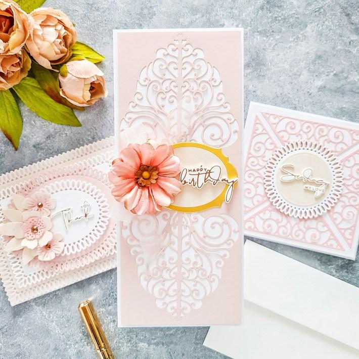 Spellbinders Becca Feeken Picot Petite Collection - Cardmaking Inspiration with Yasmin Diaz. Square Sending Love Card #Spellbinders #NeverStopMaking #AmazingPaperGrace #DieCutting #Cardmaking