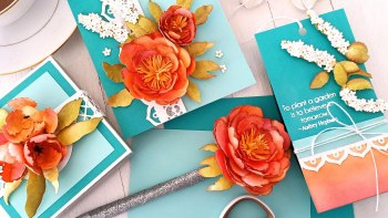 Creating 3D Florals on a Card, a Tag, A Gift and a Box with Tina Smith