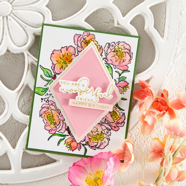 Stunning Watercolor Floral Card + Glimmer Accents | Spellbinders Live