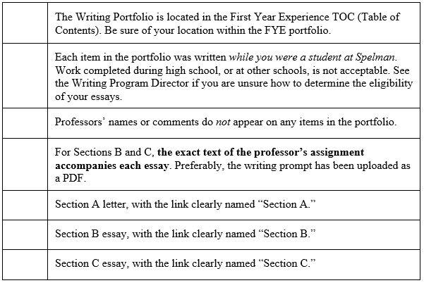 First Year Writing Portfolio Spelman College