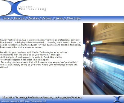 Xavier Technologies website circa 2005