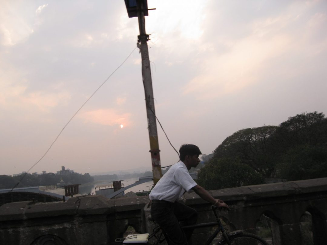 View from a rickshaw in India