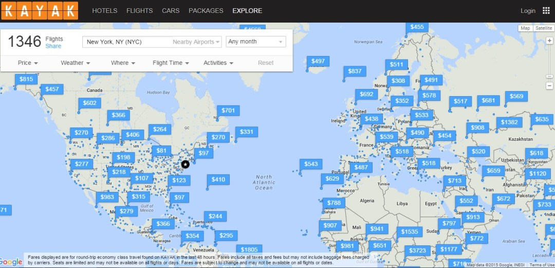 Find a cheap flight with Kayak Explore