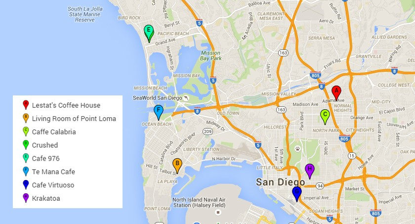 map of best cafes in San Diego to work from